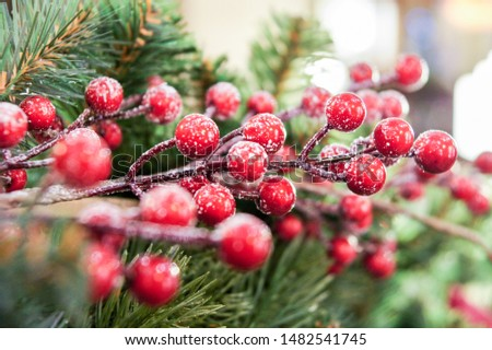 Berries on the branch. Christmas tree decorations and decorations in the design.