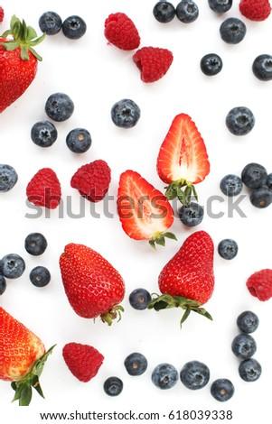 Berries: strawberries, blueberries, raspberries #618039338
