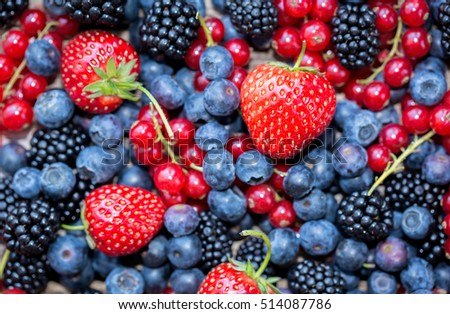 Berries variety - berries background: strawberries, currants; blueberries, blackberries #514087786