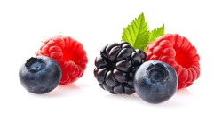 Berries with leaves on white background