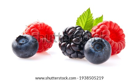 Berries with leaves on white background Foto stock ©