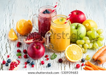 Photo of  Berry and vegetables  smoothie, healthy juicy vitamin drink diet or vegan food concept, fresh vitamins, homemade refreshing fruit beverage