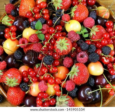 berry background is fresh and ripe fruit