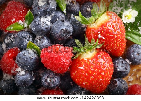 Berry background with water droplets on fresh ripe red strawberries, raspberries and blueberries, closeup view