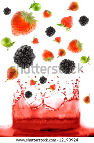 berry falling in juice. Isolation - stock photo