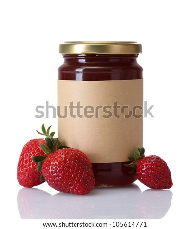 berry jam and strawberry isolated on white