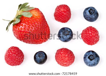 Berry Mix: Strawberry, Raspberries, and Blueberries Isolated against White Background