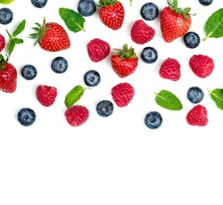 Berry Pattern. Fresh berries isolated on white background, top view.