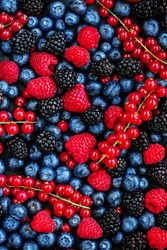 Berry Pattern. Fresh Summer Berries mix Background with Strawberry, Raspberry, Red currant,  Blueberry and Blackberry, top view