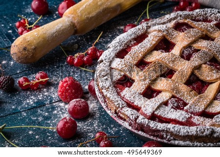Berry pie decorated with sugar powder and rocker on the navy-blue background #495649369