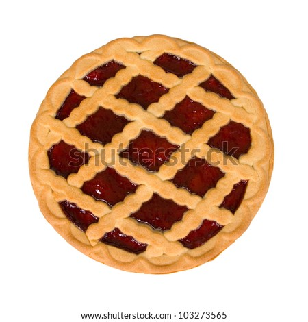 Berry pie on a white background
