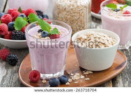 berry smoothie with oatmeal in a glass, horizontal