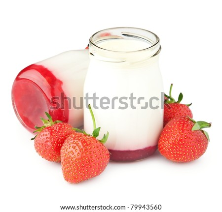 berry yogurt in a glass jar and fresh strawberries over white background.