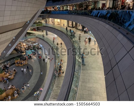 Besiktas, Istanbul, Turkey - August 28, 2019: Kanyon is a multi purpose complex, Shopping,Residential and Entertainment. Located on the Buyukdere Avenue in the Levent business district of Istanbul #1505664503
