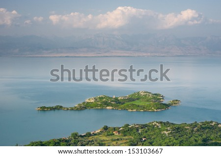 Beska Island on Lake Skadar National Park, Montenegro. There are two churches built on the island.