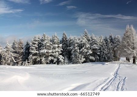 Beskids Mountains in winter sunny day