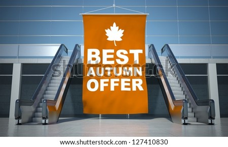 Best autumn offer advertising flag and modern moving escalator stairs