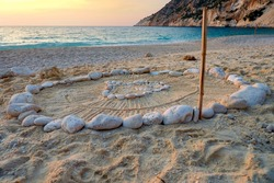 Best beaches of Kefalonia (Cephalonia) island - Mirtos (Myrtos) with turquoise sea. Greece