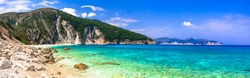 Best beaches of Kefalonia (Cephalonia)island  - Mirtos with turquoise transparent sea. ionian islands of Greece