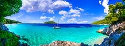 Best beaches of Skopelos island - Kastani with crystal turquoise sea. Greece, nothen Sporades