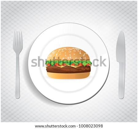 best burger and food silverware illustration design isolated over white