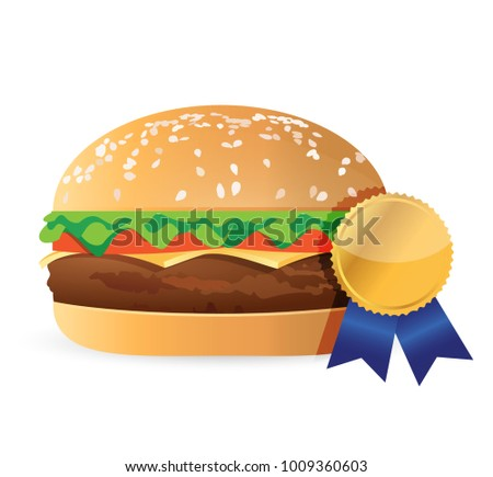 best burger award ribbon illustration design isolated over white