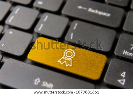 Best business certificate computer button for quality guarantee concept. Award ribbon  icon in gold color. #1079881661