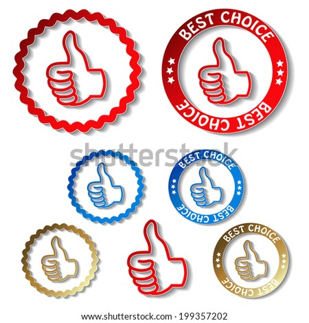 best choice stickers, symbols of hand gesture - stock photo