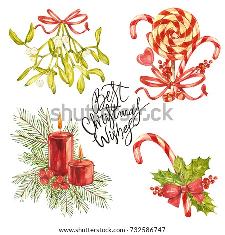 Stock Photo Best Christmas Wishes- phrase. Holiday lettering illustration. Christmas set with xmas mistletoe and decor. Watercolor painting isolated on white background.