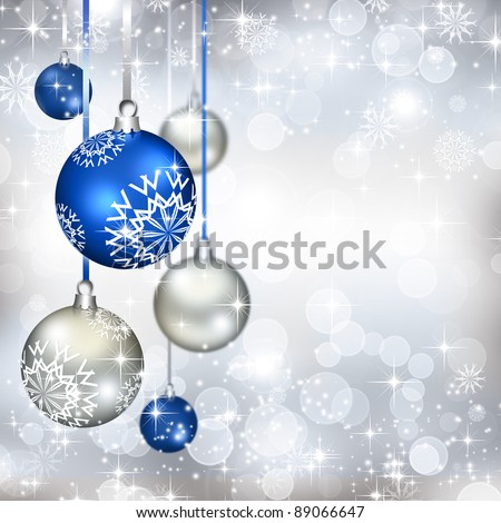 Best elegant Christmas background with blue baubles - stock photo