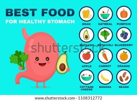 Best food for strong stomach.Strong healthy stomach character.  flat cartoon illustration icon. Isolated on blue backgound. Health food,diet,products,nutrition,nutriment infographic concept