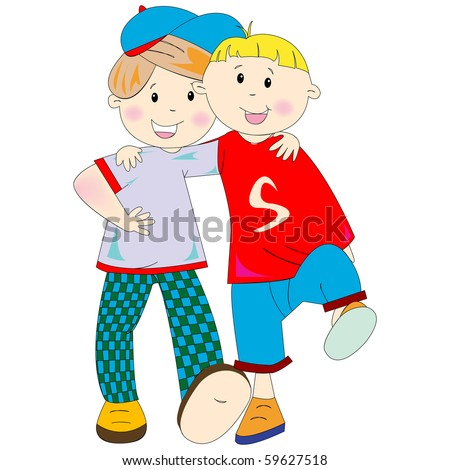 best friends cartoon against white background, abstract art illustration; for vector format please visit my gallery