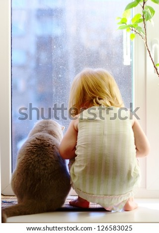 Best friends. Cat and little girl looking out of the window.