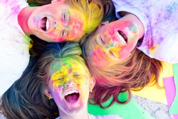 best friends forever. Crazy hipster girls. Summer weather. positive and cheerful. Happy youth party. Optimist. Spring vibes. colorful neon paint makeup. children with creative body art. friendship.