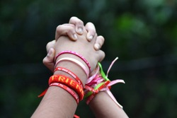 Best friends holding hands wearing friendship bands/Happy Friendship Day