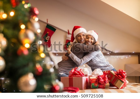 Stock Photo Best friends hugging each other.
