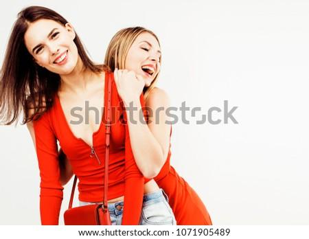 best friends teenage girls together having fun, posing emotional #1071905489