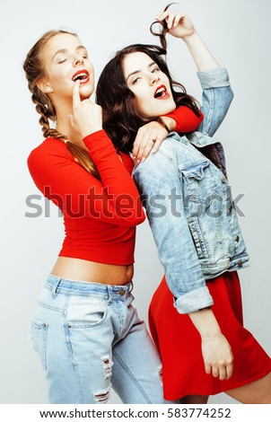 best friends teenage girls together having fun, posing emotional on white background, besties happy smiling, lifestyle people concept  #583774252