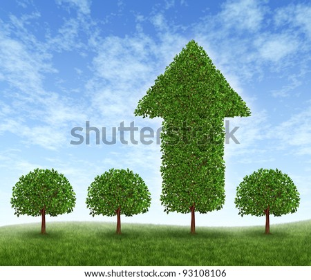 Best investment choice and financial advice for picking the right equity stocks to invest in for retirement or profit growth as four green trees but one money tree in the shape of an arrow succeeds.