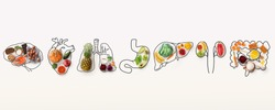 Best menu for healthy body. Collage with outlines of human internal organs and wholesome foods on white background, panorama