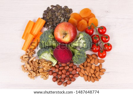 Best natural nutritious food for brain health and good memory, concept of healthy eating