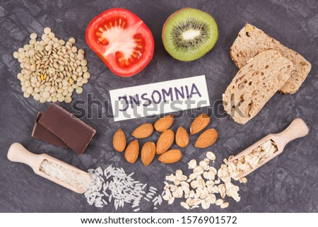 Best nutritious food as source melatonin and tryptophan. Concept of healthy sleep