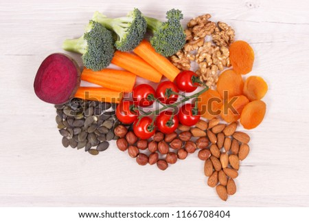Best nutritious food in shape of brain for health and good memory, concept of healthy eating #1166708404