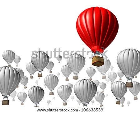 Best of breed concept with a red hot air balloon rising above and standing out from the rest against other grey flying vehicles on a white background as an icon of business and financial success.