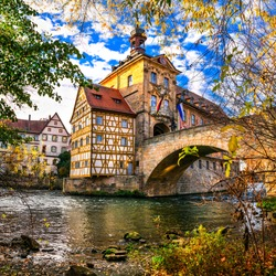 Best of Germany - beautiful town Bamberg in Bavaria. View of town-hall over the Regnitz river