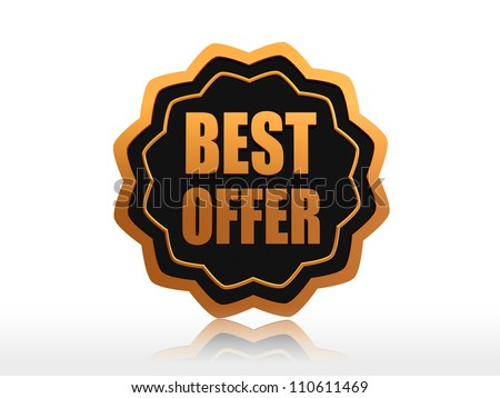 best offer 3d black label with golden text and elements