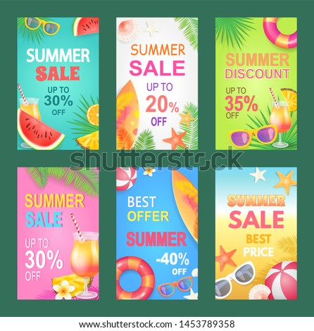 Best offer summer proposition set of posters raster. Reductions and offerings, discount shops with fruits and accessories, gaming items and surfboards