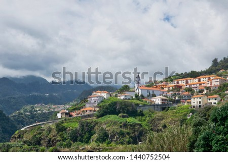 Best panorama viewpoint (Crane viewpoint) Faial city near Atlantic ocean, Madeira isand, Protugal in summer sunny day  #1440752504