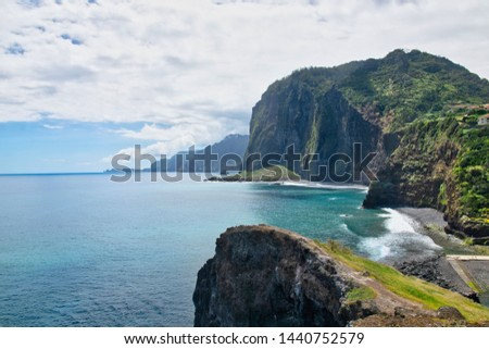 Best panorama viewpoint (Crane Viewpoint) in Faial city to the rocks, cliffs and Atlantic ocean, Madeira isand, Protugal in summer sunny day  #1440752579