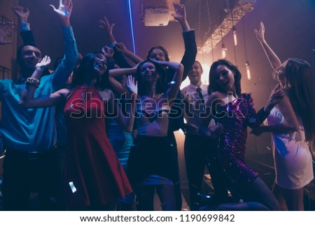 Best party mood! Low angle top view photo of leisure, lifestyle, trendy friends moving under play audio record song raised hands up